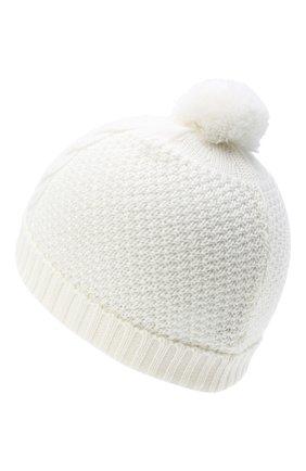 Детского шерстяная шапка BABY T белого цвета, арт. 20AI034CU | Фото 2