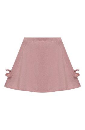Детская кашемировая юбка OSCAR ET VALENTINE розового цвета, арт. SKR01 | Фото 1