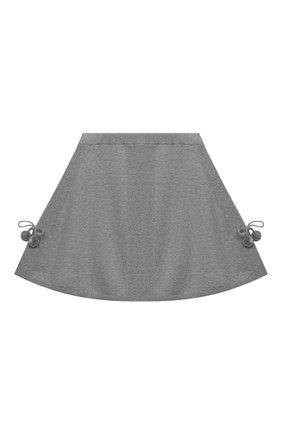 Детская кашемировая юбка OSCAR ET VALENTINE серого цвета, арт. SKR01 | Фото 1