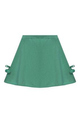 Детская кашемировая юбка OSCAR ET VALENTINE зеленого цвета, арт. SKR01 | Фото 1