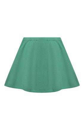 Детская кашемировая юбка OSCAR ET VALENTINE зеленого цвета, арт. SKR01 | Фото 2