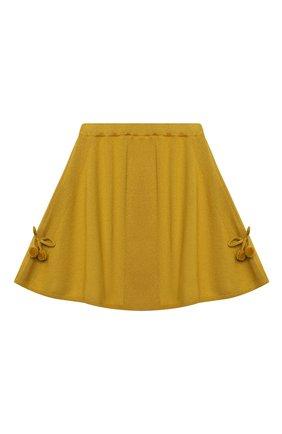 Детская кашемировая юбка OSCAR ET VALENTINE желтого цвета, арт. SKR01 | Фото 1