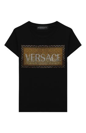 Детская хлопковая футболка VERSACE черного цвета, арт. YC000346/YA00019/4A-6A | Фото 1
