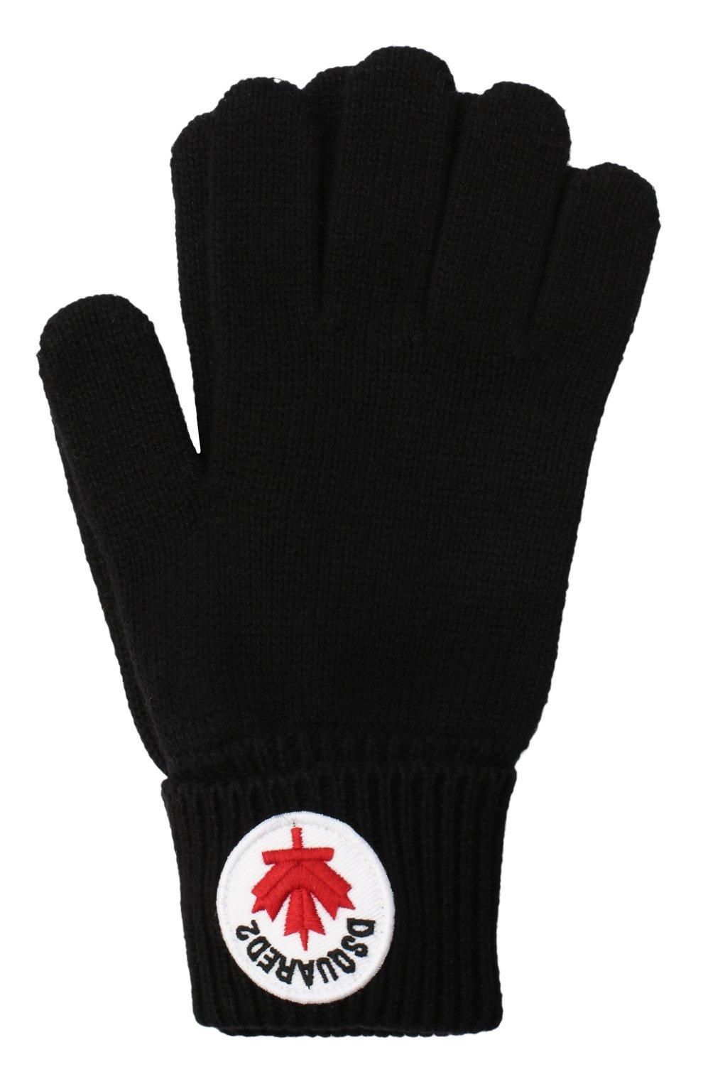 Детские перчатки из шерсти и хлопка DSQUARED2 черного цвета, арт. DQ04AG-D00WC   Фото 1