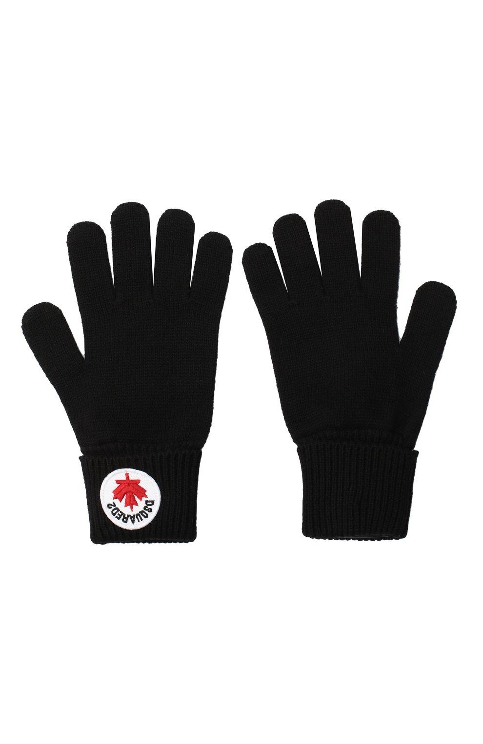 Детские перчатки из шерсти и хлопка DSQUARED2 черного цвета, арт. DQ04AG-D00WC   Фото 2