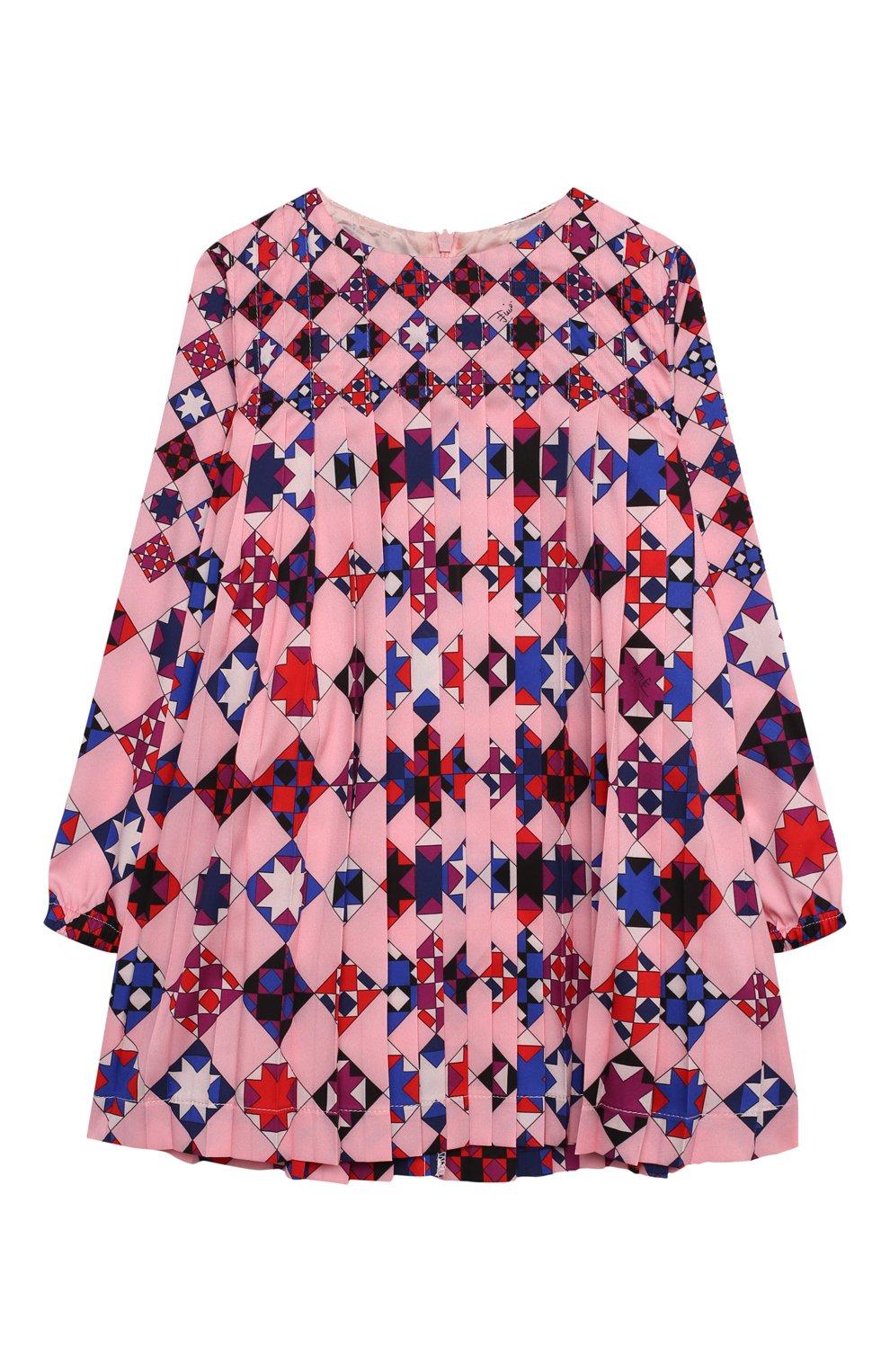 Детское платье EMILIO PUCCI розового цвета, арт. 9N1210/ND780/2-4   Фото 1 (Рукава: Длинные; Случай: Повседневный; Материал внешний: Синтетический материал; Материал подклада: Купро)