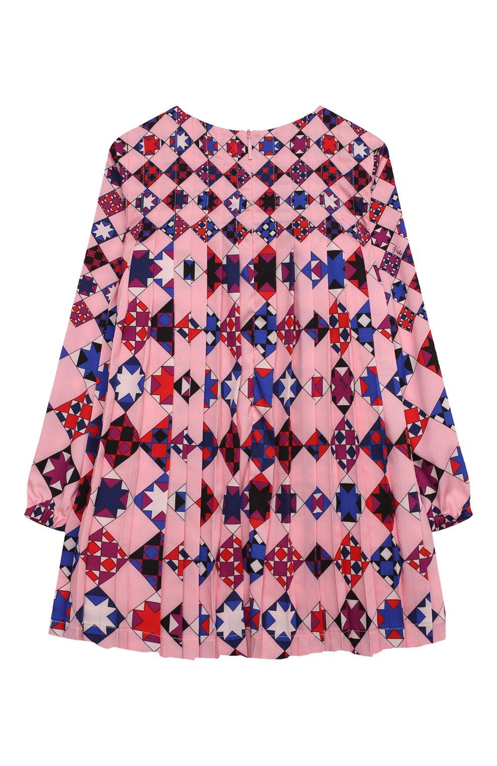 Детское платье EMILIO PUCCI розового цвета, арт. 9N1210/ND780/2-4   Фото 2 (Рукава: Длинные; Случай: Повседневный; Материал внешний: Синтетический материал; Материал подклада: Купро)
