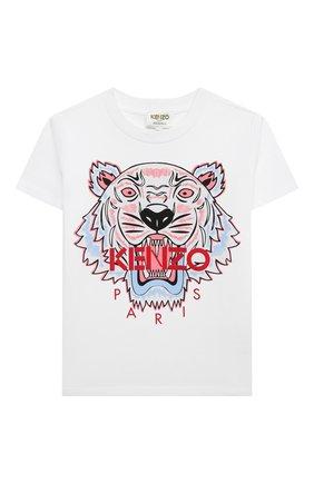 Детская хлопковая футболка KENZO разноцветного цвета, арт. KR10208 | Фото 1