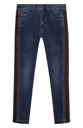 Детские джинсы FENDI синего цвета, арт. JMF316/A6IQ/3A-6A   Фото 1
