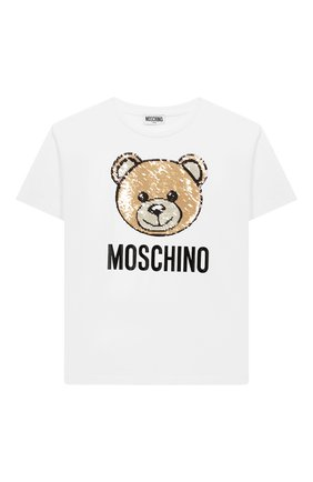 Детская хлопковая футболка MOSCHINO белого цвета, арт. H5M029/LBA12/10A-14A | Фото 1