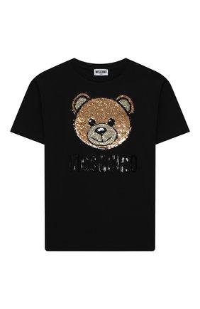 Детская хлопковая футболка MOSCHINO черного цвета, арт. H5M029/LBA12/10A-14A | Фото 1
