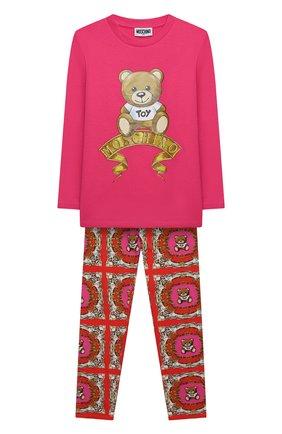 Детский комплект из лонгслива и брюк MOSCHINO фуксия цвета, арт. HDK021/LBB44/4A-8A | Фото 1