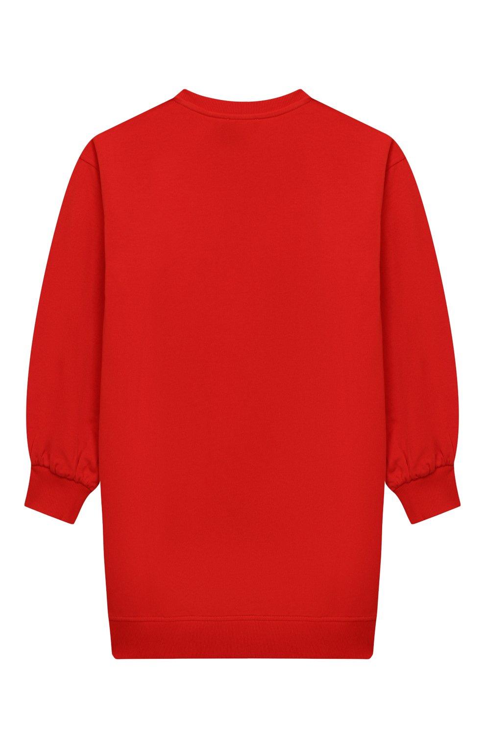 Детское хлопковое платье MOSCHINO красного цвета, арт. HDV096/LDA16/4A-8A   Фото 2 (Рукава: Длинные; Случай: Повседневный; Материал внешний: Хлопок; Девочки Кросс-КТ: Платье-одежда)
