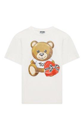 Детская хлопковая футболка MOSCHINO белого цвета, арт. HEM02T/LBA11/10A-14A | Фото 1