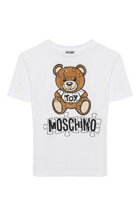 Детская хлопковая футболка MOSCHINO белого цвета, арт. HUM02X/LBA11/10A-14A | Фото 1