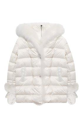 Детского пуховая куртка с варежками YVES SALOMON ENFANT белого цвета, арт. 21WEM012XXD0SW/8-10 | Фото 1