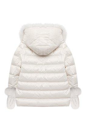 Детского пуховая куртка с варежками YVES SALOMON ENFANT белого цвета, арт. 21WEM012XXD0SW/8-10 | Фото 2