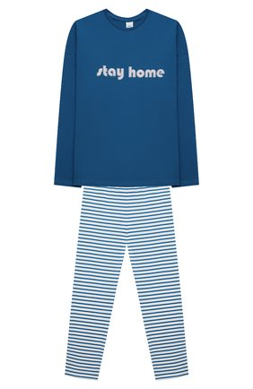 Детская хлопковая пижама SANETTA синего цвета, арт. 244804 | Фото 1
