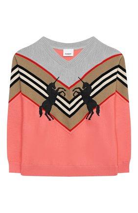 Детский шерстяной пуловер BURBERRY разноцветного цвета, арт. 8032586   Фото 1