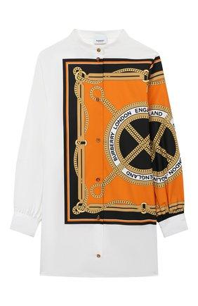 Детское шерстяное платье-рубашка BURBERRY белого цвета, арт. 8032719 | Фото 1