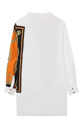 Детское шерстяное платье-рубашка BURBERRY белого цвета, арт. 8032719 | Фото 2