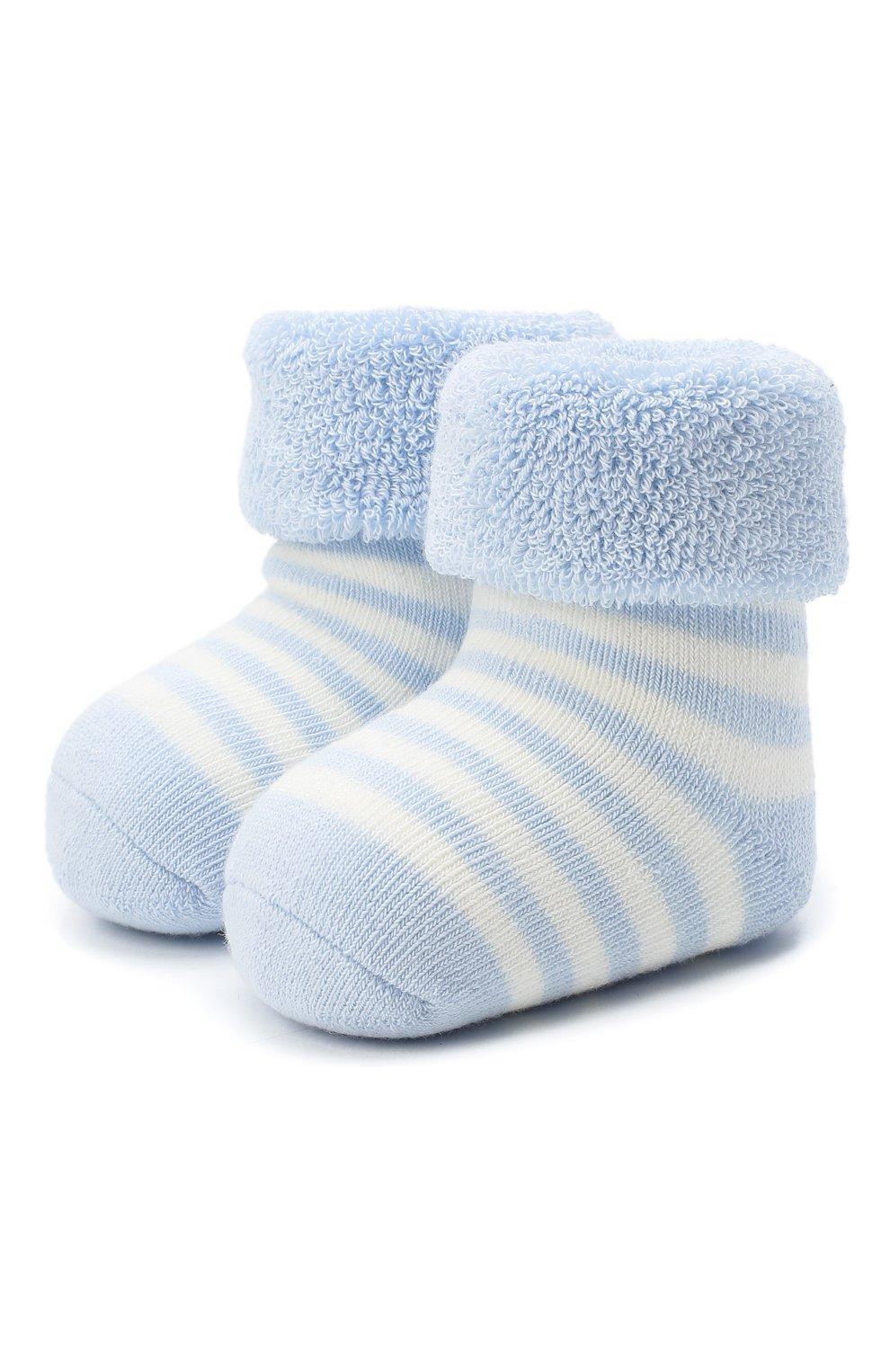 Детские хлопковые носки FALKE голубого цвета, арт. 10040.   Фото 1 (Материал: Текстиль, Хлопок)