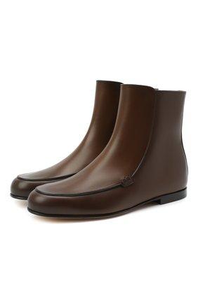 Женские кожаные ботинки astoria LORO PIANA коричневого цвета, арт. FAI9984 | Фото 1