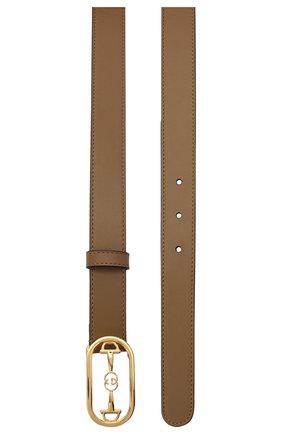 Женский кожаный ремень GUCCI бежевого цвета, арт. 625856/0YA0G   Фото 2 (Материал: Кожа)