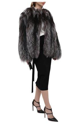 Женская шуба из меха лисицы KITON серого цвета, арт. D50580X04T64 | Фото 2