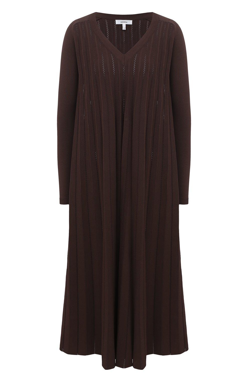 Женское платье из вискозы CASASOLA коричневого цвета, арт. DRS-C-CARLA/VISC0SE | Фото 1 (Рукава: Длинные; Случай: Повседневный; Длина Ж (юбки, платья, шорты): Миди; Материал внешний: Вискоза; Женское Кросс-КТ: Платье-одежда)