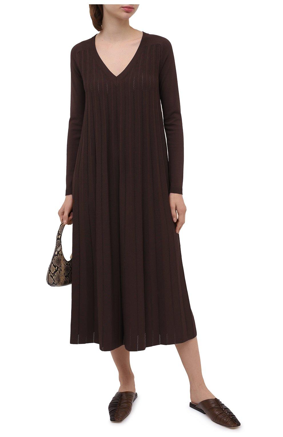 Женское платье из вискозы CASASOLA коричневого цвета, арт. DRS-C-CARLA/VISC0SE | Фото 2 (Рукава: Длинные; Случай: Повседневный; Длина Ж (юбки, платья, шорты): Миди; Материал внешний: Вискоза; Женское Кросс-КТ: Платье-одежда)