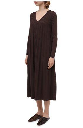 Женское платье из вискозы CASASOLA коричневого цвета, арт. DRS-C-CARLA/VISC0SE | Фото 3 (Рукава: Длинные; Случай: Повседневный; Длина Ж (юбки, платья, шорты): Миди; Материал внешний: Вискоза; Женское Кросс-КТ: Платье-одежда)