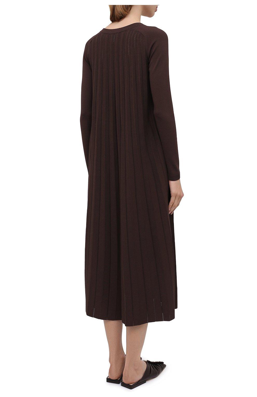 Женское платье из вискозы CASASOLA коричневого цвета, арт. DRS-C-CARLA/VISC0SE | Фото 4 (Рукава: Длинные; Случай: Повседневный; Длина Ж (юбки, платья, шорты): Миди; Материал внешний: Вискоза; Женское Кросс-КТ: Платье-одежда)