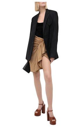 Женская юбка из вискозы ALEXANDRE VAUTHIER бежевого цвета, арт. 203SK1303B 1029C-203 | Фото 2