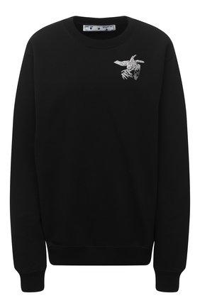 Женский хлопковый свитшот OFF-WHITE черного цвета, арт. 0WBA055F20JER0061009   Фото 1