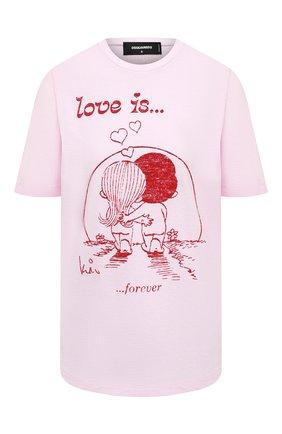 Женская хлопковая футболка DSQUARED2 розового цвета, арт. S72GD0253/S22507   Фото 1