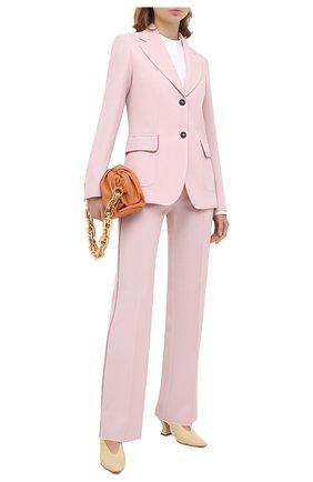Женские шерстяные брюки GOLDEN GOOSE DELUXE BRAND светло-розового цвета, арт. GWP00172.P000153 | Фото 2