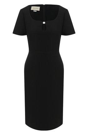 Женское платье из шелка и шерсти GUCCI черного цвета, арт. 631484/ZAD88   Фото 1