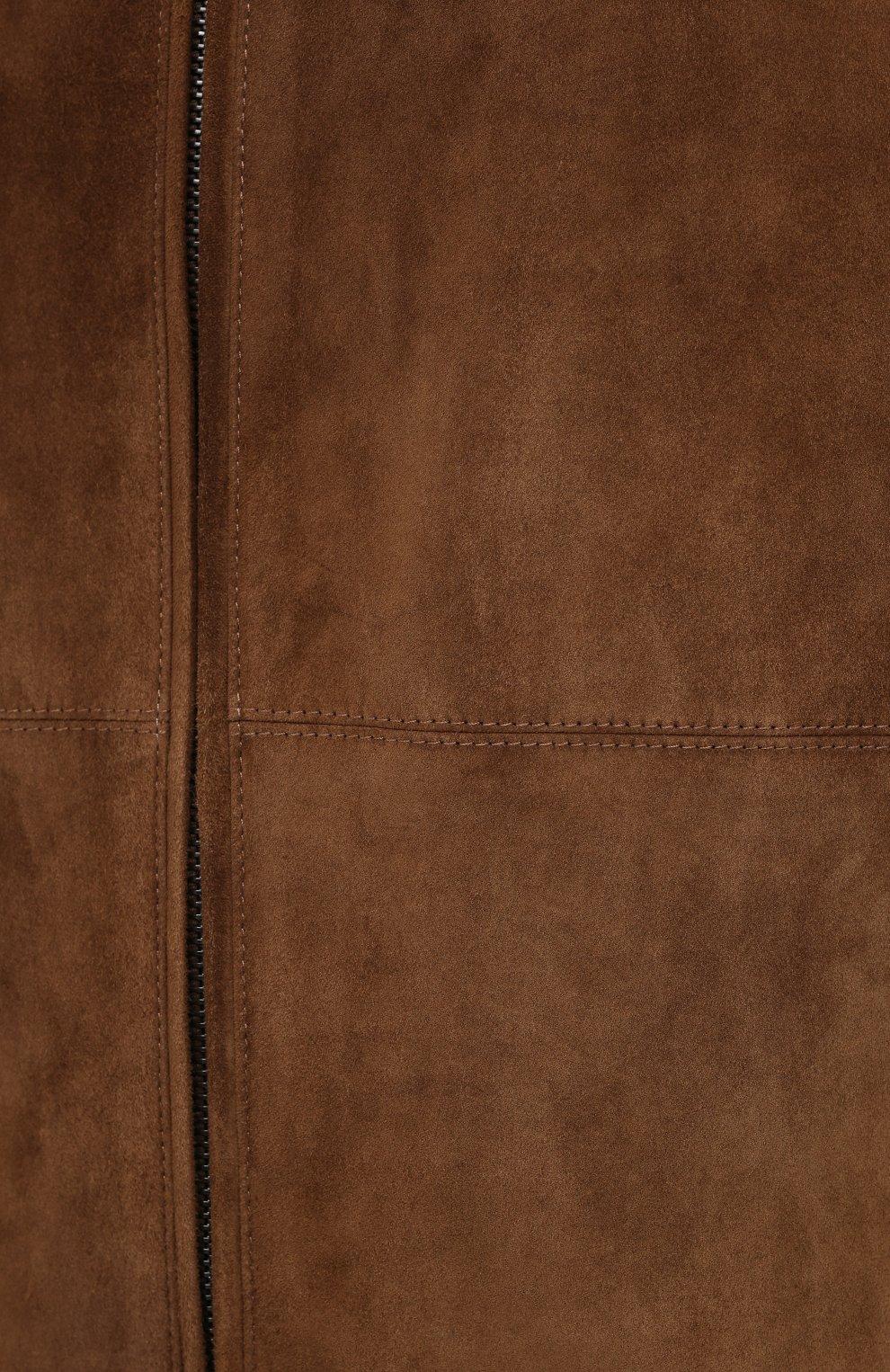 Мужской замшевый бомбер LORO PIANA коричневого цвета, арт. FAL2843 | Фото 6