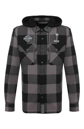Мужская хлопковая куртка-рубашка garage HARLEY-DAVIDSON серого цвета, арт. 99007-20VM | Фото 1 (Материал подклада: Синтетический материал, Хлопок; Рукава: Длинные; Материал внешний: Хлопок; Длина (верхняя одежда): Короткие; Мужское Кросс-КТ: Верхняя одежда, Куртка-верхняя одежда; Стили: Кэжуэл; Кросс-КТ: Ветровка, Куртка)