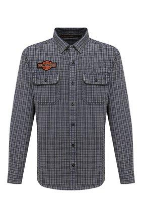 Мужская хлопковая рубашка general motorclothes HARLEY-DAVIDSON синего цвета, арт. 99008-20VM | Фото 1 (Рукава: Длинные; Длина (для топов): Стандартные; Материал внешний: Хлопок; Случай: Повседневный; Стили: Кэжуэл; Воротник: Кент)