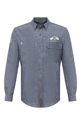 Мужская хлопковая рубашка general motorclothes HARLEY-DAVIDSON синего цвета, арт. 99195-19VM | Фото 1 (Рукава: Длинные; Длина (для топов): Стандартные; Материал внешний: Хлопок; Случай: Повседневный; Стили: Кэжуэл; Воротник: Кент)