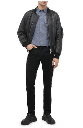 Мужская хлопковая рубашка general motorclothes HARLEY-DAVIDSON синего цвета, арт. 99195-19VM | Фото 2 (Рукава: Длинные; Длина (для топов): Стандартные; Материал внешний: Хлопок; Случай: Повседневный; Стили: Кэжуэл; Воротник: Кент)