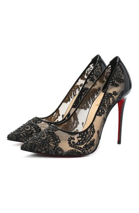 Женская туфли follies lace strass 100 CHRISTIAN LOUBOUTIN черного цвета, арт. follies lace strass 100 rete/dent marquise/pat | Фото 1