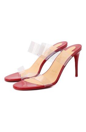 Женские кожаные мюли just nothing85 CHRISTIAN LOUBOUTIN красного цвета, арт. just nothing 85 patent/pvc   Фото 1