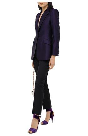 Женские текстильные босоножки TOM FORD фиолетового цвета, арт. W2687T-TSA007   Фото 2