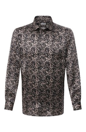 Мужская шелковая рубашка ZILLI коричневого цвета, арт. MFU-27001-1668/0006 | Фото 1