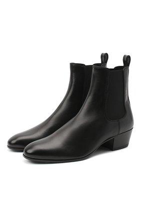 Мужские кожаные челси SAINT LAURENT черного цвета, арт. 632388/AKP00 | Фото 1