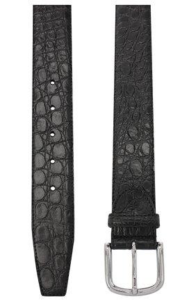 Мужской ремень из кожи каймана CANALI черного цвета, арт. 50C/KX00300/CYAC | Фото 2