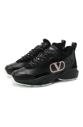 Женские кожаные кроссовки shegoes VALENTINO черного цвета, арт. UW2S0AB1/XZX | Фото 1